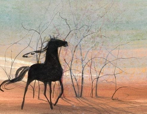 Black Beauty limited edition print by P Buckley Moss features a black horse against a peach, aqua, cream and rust background.