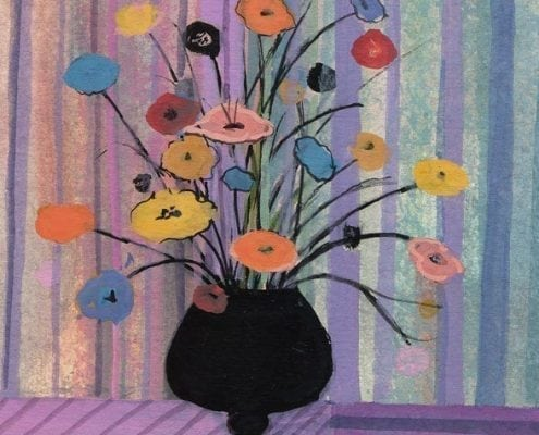 Black Vase is a limited edition print by P Buckley Moss featuring a dark vase with a bouquet of very colorful flowers. Background of soft lavender and blue stripes.