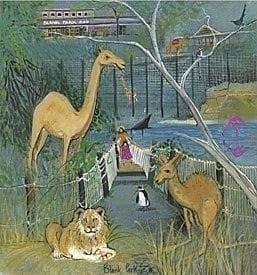 Blank Zoo limited edition print by P Buckley Moss features the Iowa zoo which is the only zoo in the state.