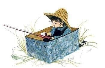 Box Boat limited edition print by P Buckley Moss features one boy with fishing pole sitting in a box pretending an adventure.