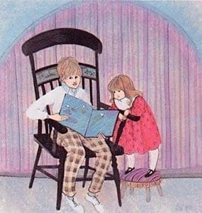 Brother's Story limited edition by P Buckley Moss features a young brother reading to his little sister.