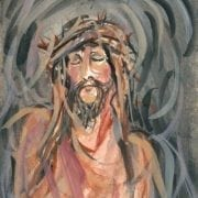 By His Wounds limited edition print by P Buckley Moss Christ portrait with an emotional face with wreath of thorns in earth tones.