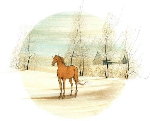 Chestnut Beauty limited edition print by P Buckley Moss features a chestnut horse with foreground of earth tones and faint yellow and faint aqua sky.