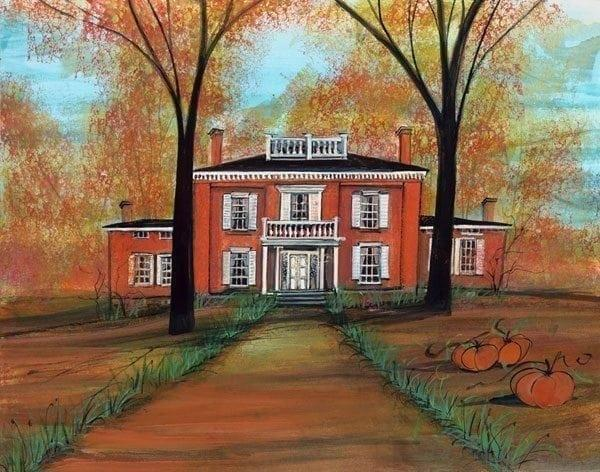 P Buckley Moss has painted the Glendower Mansion in Lebanon, Ohio. Glendower is owned by the Warren County Historical Society, which maintains it as a museum.