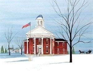 County Courthouse limited edition print by P Buckley Moss features a courthouse in Osage, Iowa. Colors of burgundy red for the building against an aqua sky. Bare iconic Moss tree in the foreground and an American flag flying in front of the courthouse.