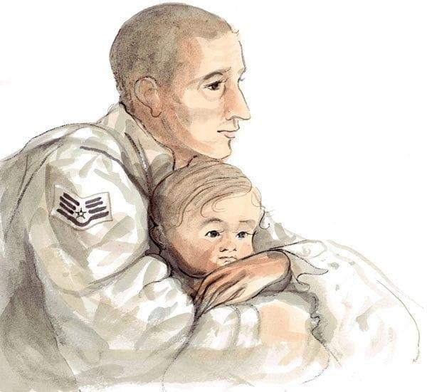 Daddy with Child limited edition print features a sweet little child with dad's arms wrapped around as they contemplate what they mean to each other. Kakai, cream, tan and white colors.