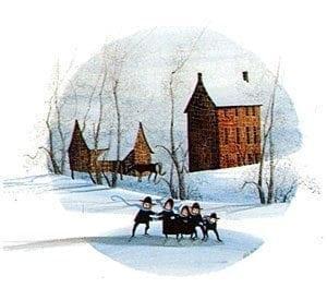 PBuckleyMoss-Waynesville-Ohio-CanadaGooseGallery-Art-Artist-LimitedEdition-Children-Amish-Skating-Barn-Farm