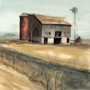 Days Gone By limited edition print by P Buckley Moss features a barn on a slope in rural America. Shades of tans and earth tones and rust.