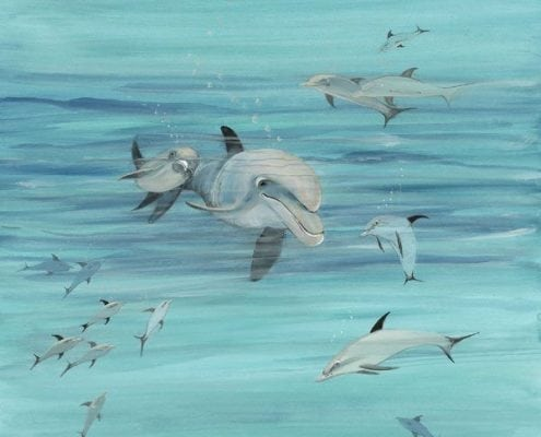 Deep Blue Sea limited edition print by P Buckley Moss features dolphins playing under the sea. A blend of turquoise and blues for the waters and light and dark gray for the sea creatures.
