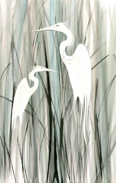 Egret Romance signed and numbered limited edition print by American artist P Buckley Moss at Canada Goose Gallery in Waynesville, Ohio. Shades of green with white birds