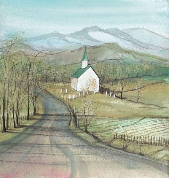 Faith in the Valley signed and numbered limited edition print by P Buckley Moss features a rural setting for a simple church that's pure white with medium green roof. Mountains in a blue haze background with greens, grays and earthtones in the foreground.