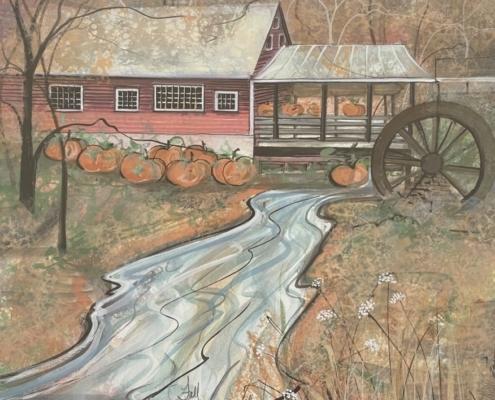 p-buckley-moss-fall-at-the-clifton-mill-art-print