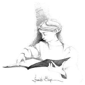 Favorite Escape limited edition by P Buckley Moss features woman with special book enjoying her reading.