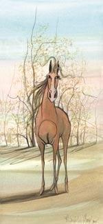 Feel the Breeze limited edition print by P Buckley Moss features a single rust colored horse against a background of peach, tans, beige and earth colors with a soft aqua tinted sky.