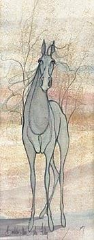 The Filly limited edition print by P Buckley Moss features a gray blue horse in a background of creams, rose and blue with branches of black and brown.