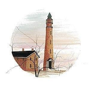 "Ponce de-Leon Lighthouse print by P Buckley Moss is known as the ""Light Station of Mosquito Inlet"" in Florida. The 1887 structure stands 175 feet tall and is still active today. Soft shades of rusts and tans with blush and blue to the sky."