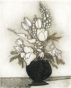 Flowers II etching by P Buckley Moss features a black vase with modern flowers in Sepia tones.