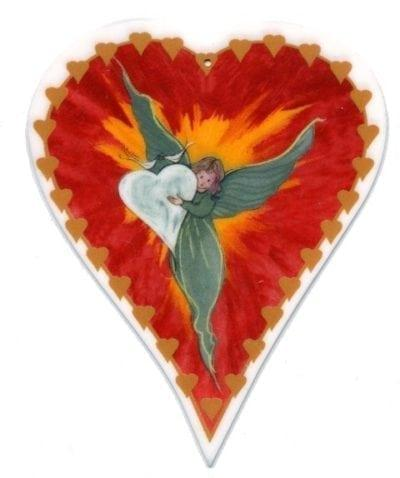 Forever an Angel Modern, limited edition, Angel in Heart porcelain Jewelry pin to be worn or framed. American artist P Buckley Moss. Red heart with angel holding a white heart inside.