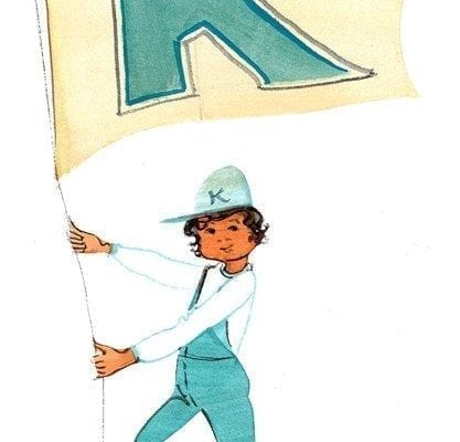 Forever Blue limited edition print by P Buckley Moss features boy with Kentucky flag in turquoise, white and yellow.