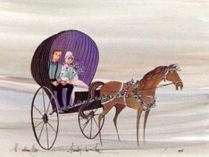 Friends in Love limited edition print by P Buckley Moss features couple in horse drawn buggy with soft background of grays and light lavender.
