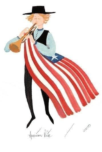 American flag tucked under this boy's arm as he plays the trumpet.