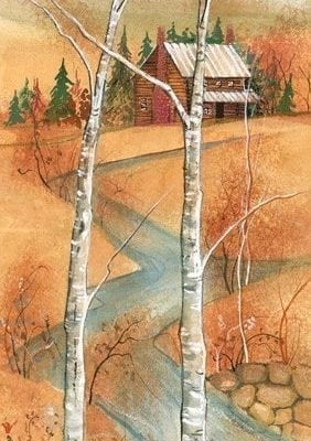 Appalachian Autumn limited edition print by P Buckley Moss in fall colors or amber and orange.