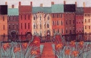 City Blossoms limited edition prints by P Buckley Moss features an entire line of row houses in vibrant colors of reds, creams and creams.