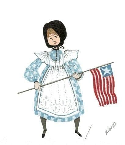 Glory is a limited edition print by P Buckley Moss featuring a young girl holding a US flag. Dressed in a blue and white check dress with white pinafore.