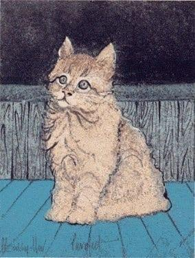 Purrfect, limited edition print by artist P Buckley Moss features a realistic cat in cream colors on a floor of beautiful blues and background of grays and darker blue/black.