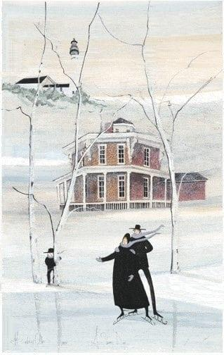 A Snowy Day loft art print by P Buckley Moss features the Loren Andrus Octagon House. Colors of white, and light blues with burgunday brink in the house coupled with black roofs.
