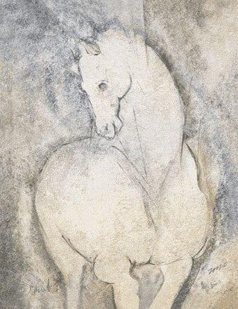 Spirit I limited edition print by P Buckley Moss features a gray and cream horse in a background of light grays, neutral shades highlighted in blue.