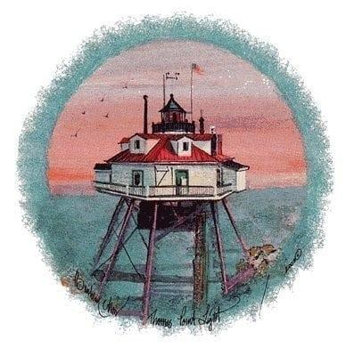 Thomas Point Light limited edition print by P Buckley Moss features a Annapolis, Maryland historic lighthouse with vivid colors of coral in the evening sky and shades of aqua for the water and the outline of the circular image. Reds and white with accents of black, brown and gray make up the lighthouse.