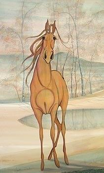 Gentle Soul limited edition print by P Buckley Moss features a full body of a horse in shades of rust in a background of creams and soft aqua throughout the landscape.