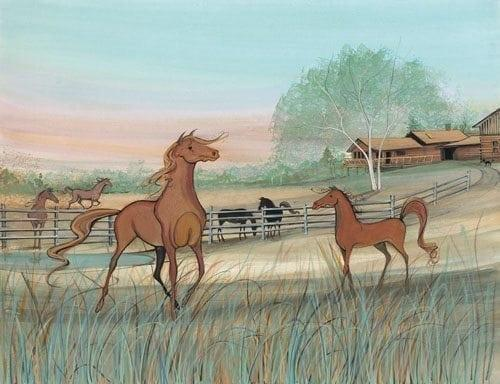Greener Pastures limited edition by P Buckley Moss features horses in a rural American setting of green pastures, tan and earth tone accents and a peach and aqua sky.
