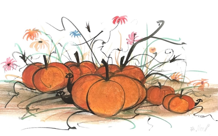 p-buckley-moss-hangin-in-the-pumpkin-patch-art-print