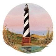 Cape Hatteras Lighthouse is a North Carolina historic landmark. Painted by P Buckley Moss in colors of earth tomes, pink, coral, rust and black and white.