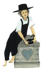 His Heart features a pensive little boy playing with his black cat friend while sitting on a box with a blue heart on the front.
