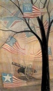 Home of the Brave features American and Confederate flags waving in the wind with bold black iconic tree and canon in a background of a misty morning light.