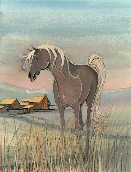 The Homestead limited edition print by P Buckley Moss is a countryside landscape with barns of mauve and golden hues in the background and a grey/brown horse with golden mane in the foreground.