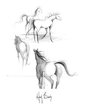 Hoof Beats by P Buckley Moss features a group of horses as they move together across the land. Sketch art in shades of charcoal gray, black and white spaces.