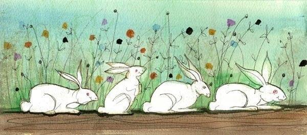 Hoppin' Down The Bunny Trail by P Buckley Moss features four white bunnies in a row parading in front of a colorful growth of flowers.