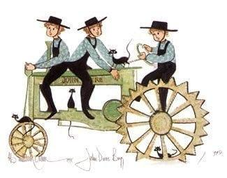 John Deere Boys limited edition print by P Buckley Moss features three boys on an antique John Deere tractor. Greens, black blue and cream tan.