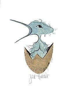 Just Hatched boy limited edition print by P Buckley Moss featuring a fledgling bird in blue print, representing a boy bird breaking out of the egg.