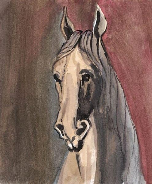 Knight limited edition print by P Buckley Moss features head and shoulders of a cream, gray and black horse with a background of mauve and gray.