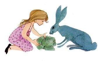 Let's Share is a limited edition print by P Buckley Moss which features a young girl dressed in pink with her big blue bunny friend inspecting the prized head of cabbage grown in their garden.