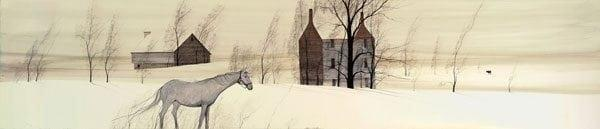 Lone Spirit limited edition giclee print by P Buckley Moss features a prairie landscape with house and barn in the distance and a lone horse in the foreground. Colors are creams and beige with a touch of gray and browns.