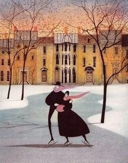 Limited edition etching by P Buckley Moss. Row houses in the background with a skating couple in the park in the foreground. Bright colored background around the houses with soft blue ice for the skaters. Of course, dark black coats for the skaters.