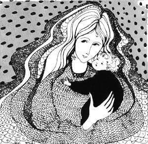 Loving Touch etching by P Buckley Moss. Black, white and gray image. Mother with baby in arms.