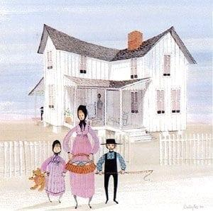 Lowe House limited edition print by P Buckley moss features a 1988 structure in St. Petersburg, Florida. Colors of whites and grays, tans and light blue in the sky, People dressed in shades of rose, lavender and blue.