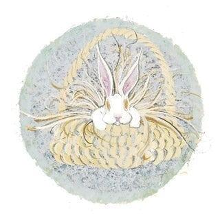 March is a limited edition print by P Buckley Moss from the series of Twelve Months of the Year prints. March features a small bunny with very large pink ears peeking out of an Easter basket. All ready to delight some lucky child.